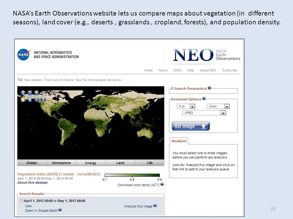 NASA's Earth Observations website lets us compare maps about vegetation (in different seasons), land cover (e.g., deserts, grasslands, cropland, forests), and population density.