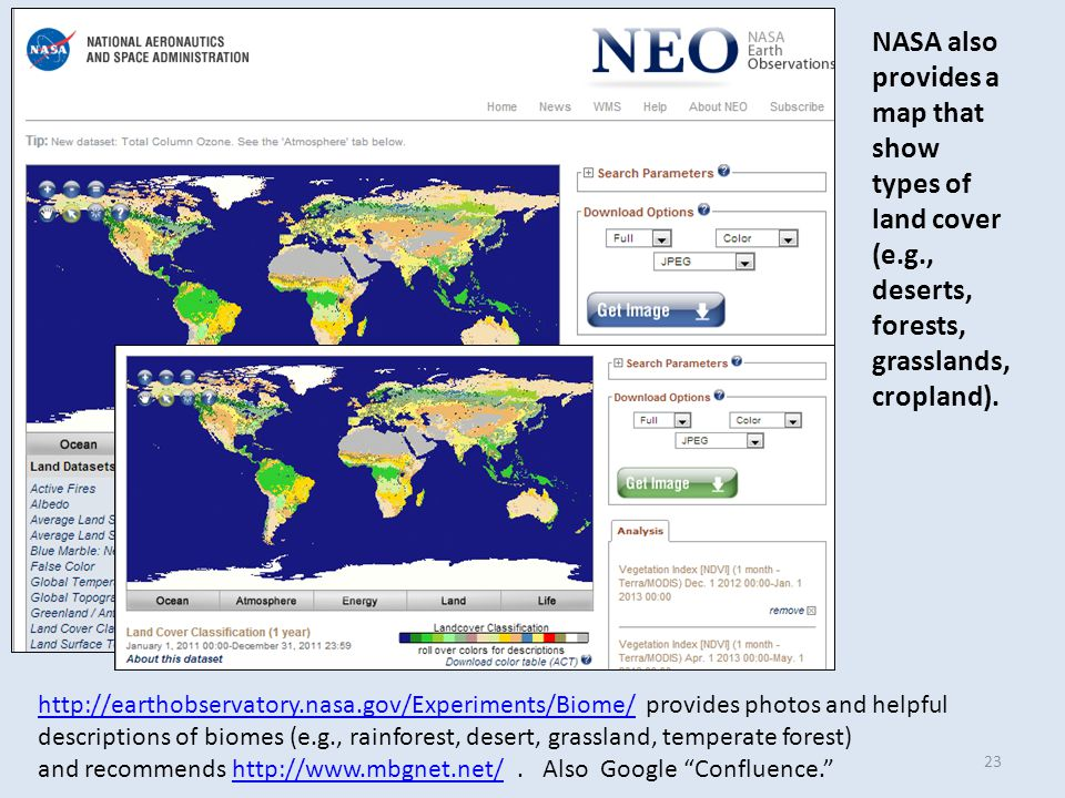 NASA also provides a map that show types of land cover (e.g., deserts, forests, grasslands, cropland).
