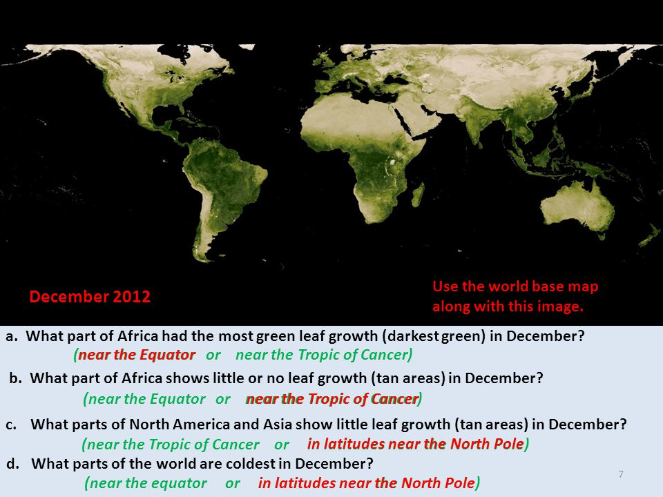 a. What part of Africa had the most green leaf growth (darkest green) in December.