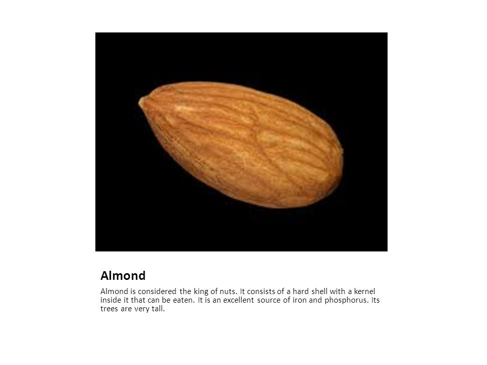 Almond Almond is considered the king of nuts.