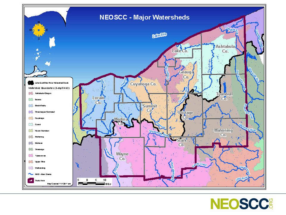 Northeast Ohio Watersheds Two Major River Basins – Ohio River – 47% – Lake Erie – 53% 13 Sub-Basins (8-digit Hydrologic Unit Code (HUC)) – Ohio River – 6 – Lake Erie – 7 57 Watersheds (10-digit HUC) – Ohio River – 29 – Lake Erie – 28 242 Sub-Watersheds (12-digit HUC) – Ohio River – 121 – Lake Erie – 121