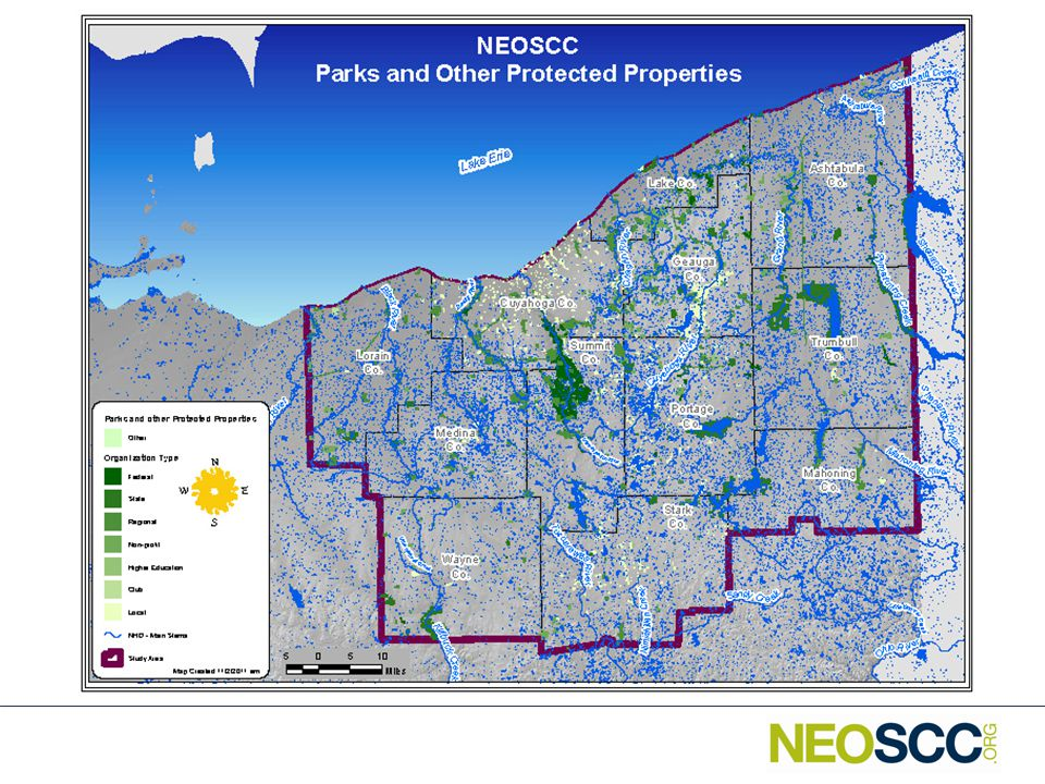 Northeast Ohio Parks and Protected Lands Total Acres of Parks: 231,280 Total Acres of Protected Lands: 28,270 Share of Region: 6.6% Caveats – Difficult to capture all of the parkland, especially that held by cities, townships, etc.