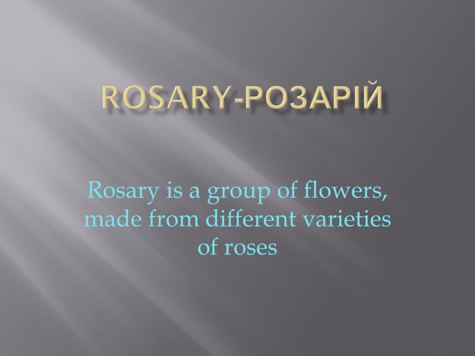 Rosary is a group of flowers, made ​​ from different varieties of roses