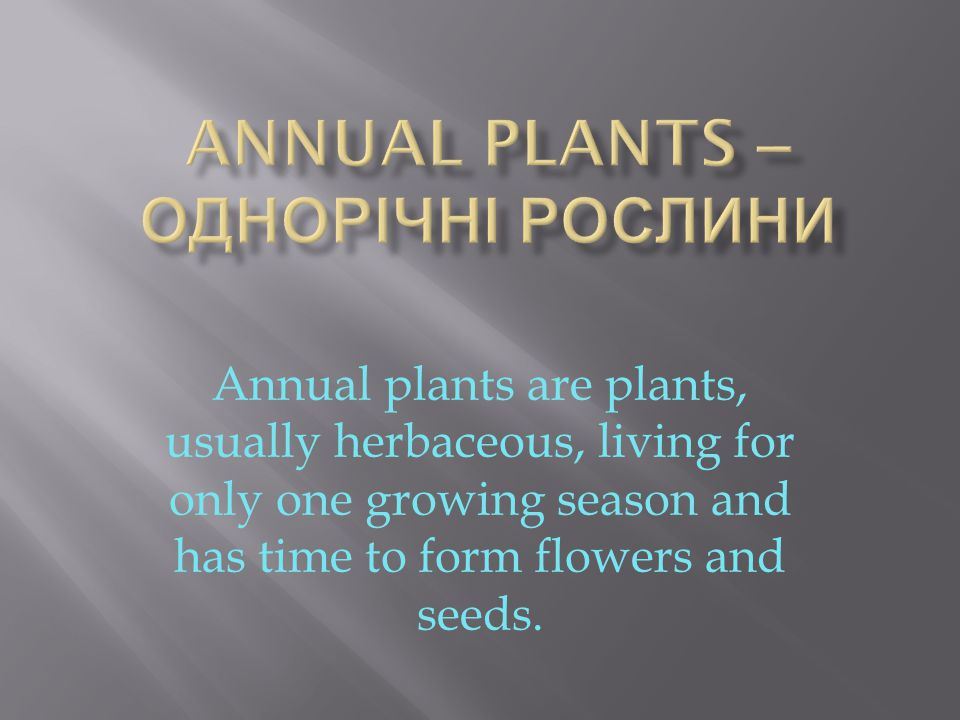 Annual plants are plants, usually herbaceous, living for only one growing season and has time to form flowers and seeds.