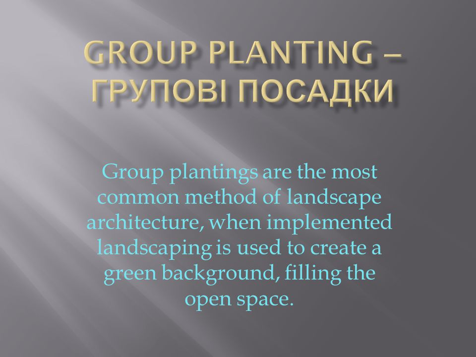 Group plantings are the most common method of landscape architecture, when implemented landscaping is used to create a green background, filling the open space.