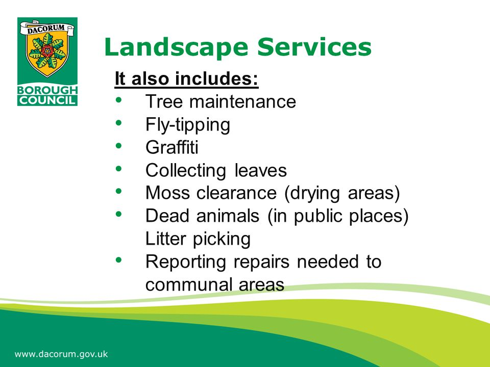 Landscape Services It also includes: Tree maintenance Fly-tipping Graffiti Collecting leaves Moss clearance (drying areas) Dead animals (in public pla