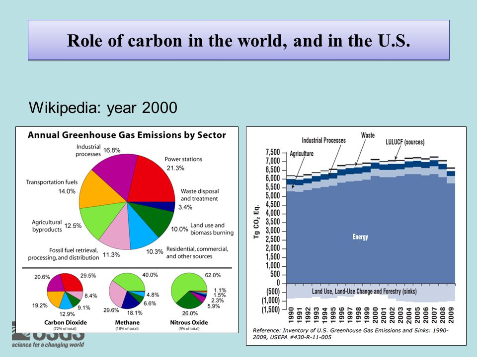 Role of carbon in the world, and in the U.S. Wikipedia: year 2000
