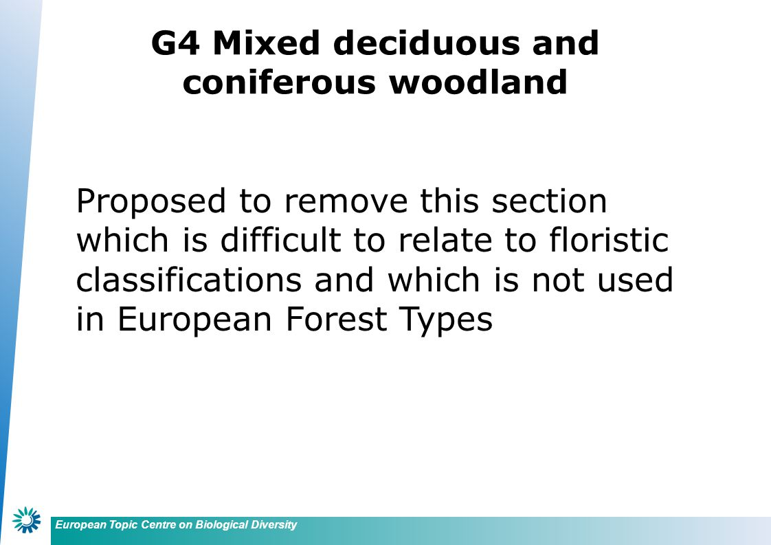 European Topic Centre on Biological Diversity G4 Mixed deciduous and coniferous woodland Proposed to remove this section which is difficult to relate