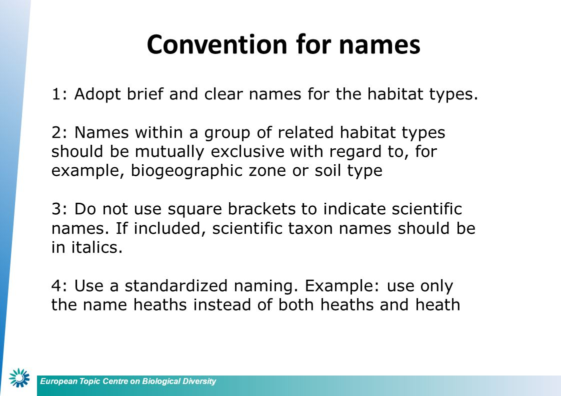 European Topic Centre on Biological Diversity Convention for names 1: Adopt brief and clear names for the habitat types. 2: Names within a group of re