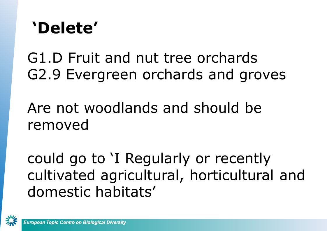 European Topic Centre on Biological Diversity G4 Mixed deciduous and coniferous woodland Proposed to remove this section which is difficult to relate to floristic classifications and which is not used in European Forest Types
