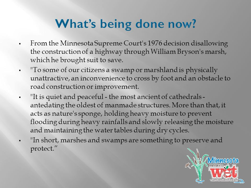  From the Minnesota Supreme Court s 1976 decision disallowing the construction of a highway through William Bryson s marsh, which he brought suit to save.