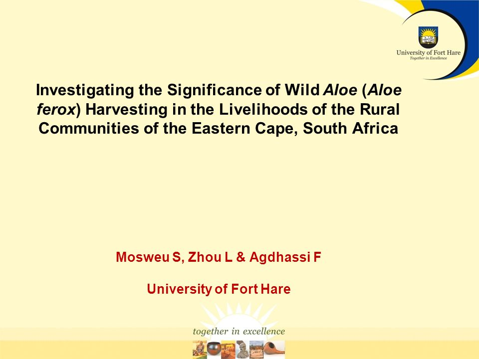Investigating the Significance of Wild Aloe (Aloe ferox) Harvesting in the Livelihoods of the Rural Communities of the Eastern Cape, South Africa Mosw