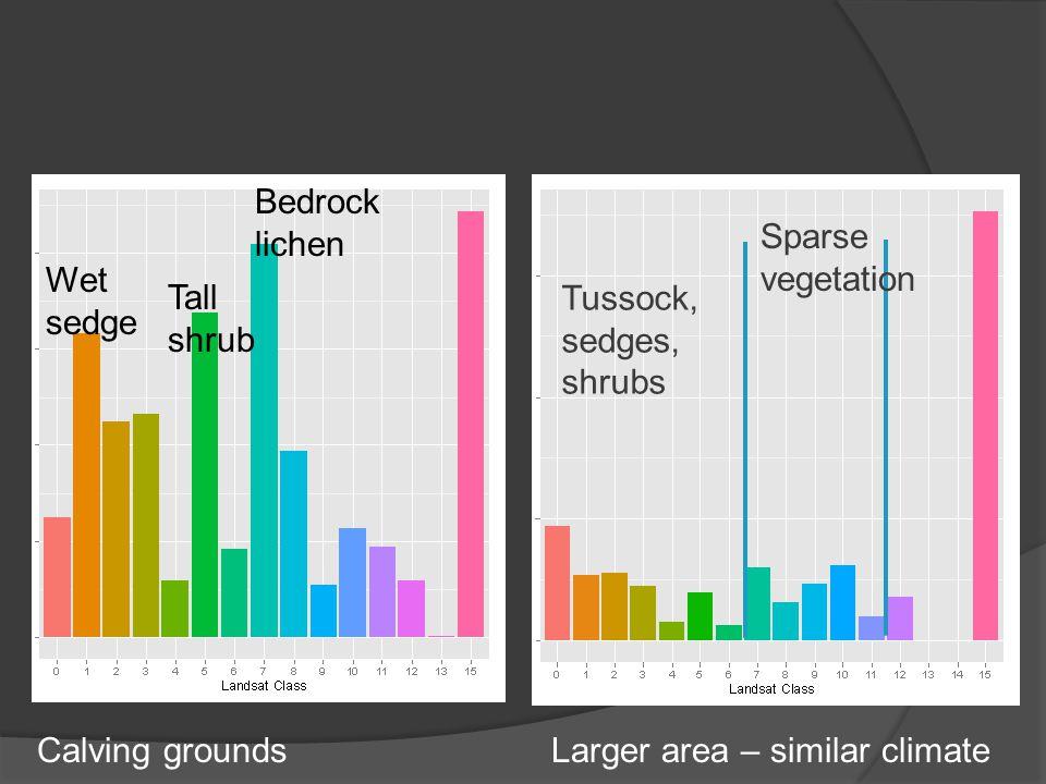 Tussock, sedges, shrubs Wet sedge Tall shrub Bedrock lichen Sparse vegetation Calving groundsLarger area – similar climate
