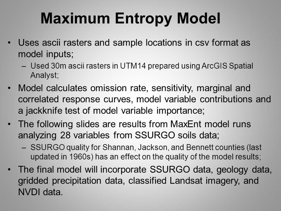 Maximum Entropy Model Uses ascii rasters and sample locations in csv format as model inputs; –Used 30m ascii rasters in UTM14 prepared using ArcGIS Sp