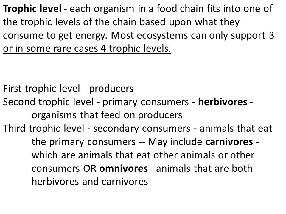 Trophic level - each organism in a food chain fits into one of the trophic levels of the chain based upon what they consume to get energy. Most ecosys