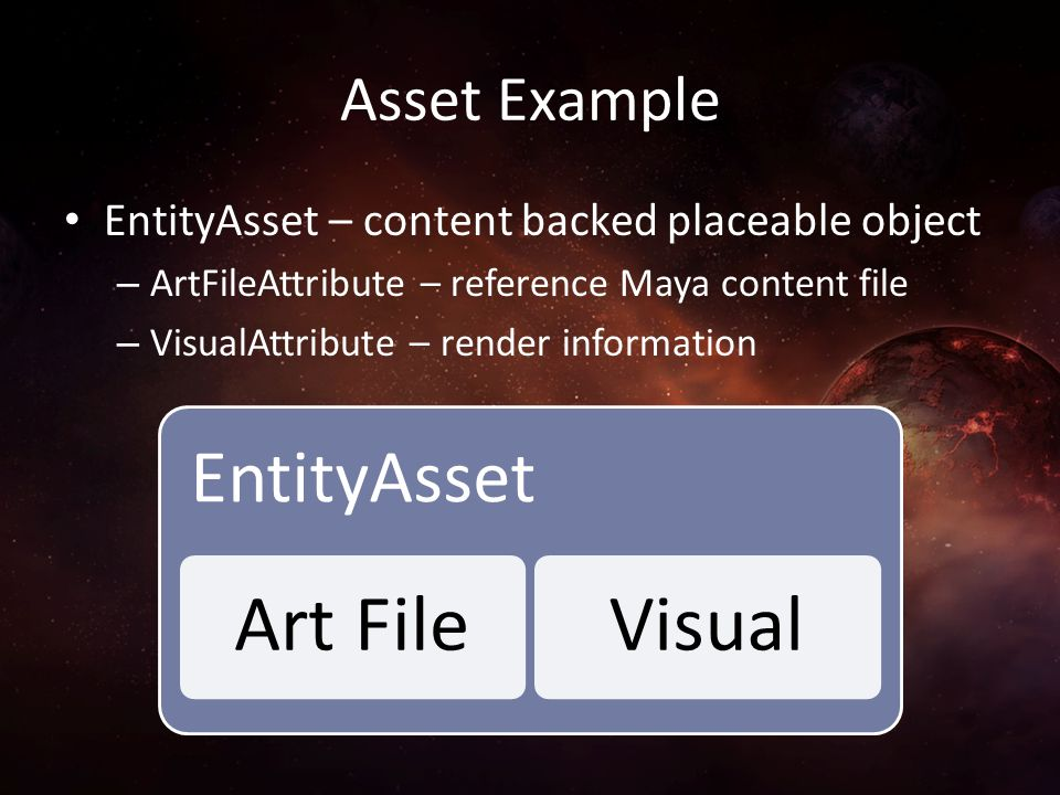 Asset Example EntityAsset – content backed placeable object – ArtFileAttribute – reference Maya content file – VisualAttribute – render information En