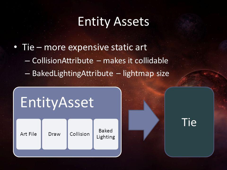 Entity Assets Tie – more expensive static art – CollisionAttribute – makes it collidable – BakedLightingAttribute – lightmap size EntityAsset Art File