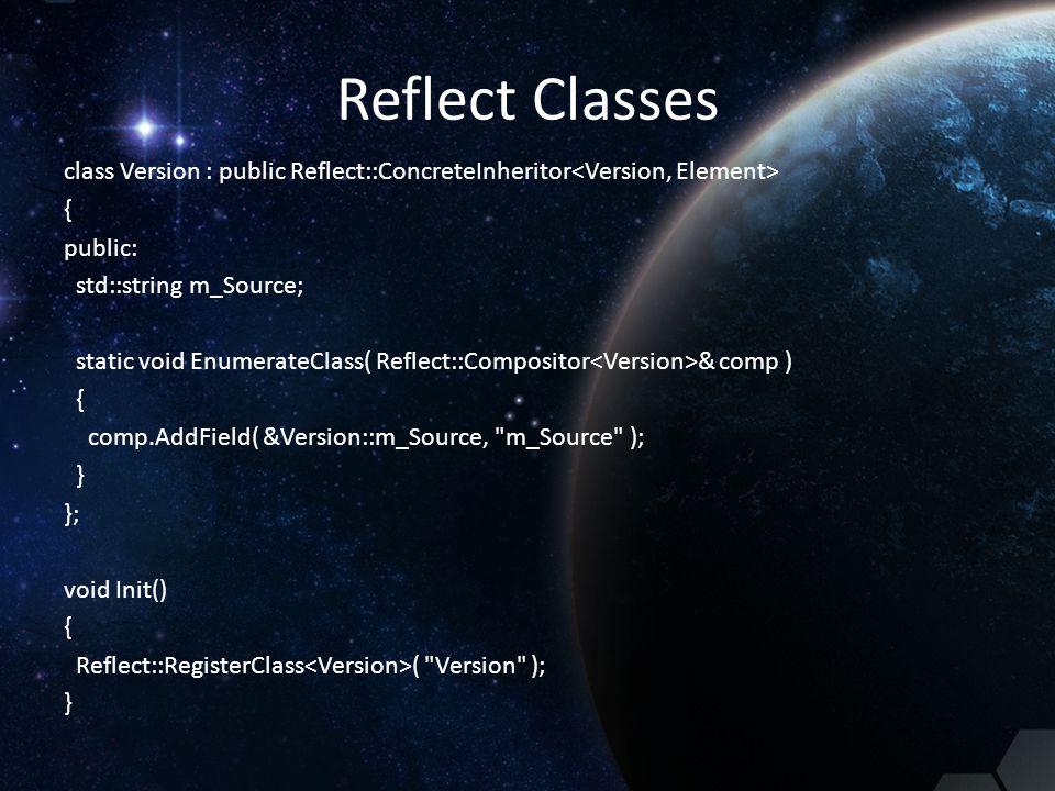 Reflect Classes class Version : public Reflect::ConcreteInheritor { public: std::string m_Source; static void EnumerateClass( Reflect::Compositor & co