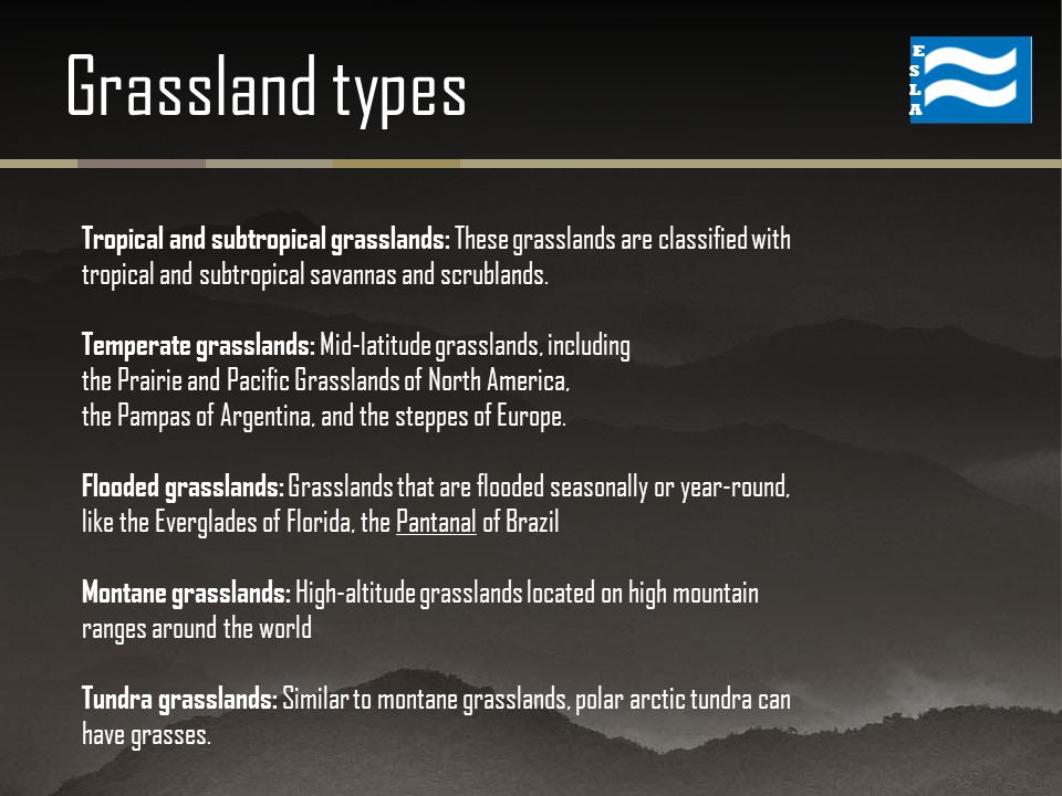 Grassland types Tropical and subtropical grasslands: These grasslands are classified with tropical and subtropical savannas and scrublands.