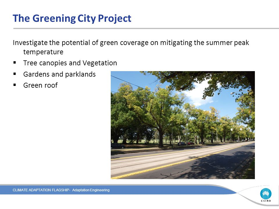 CLIMATE ADAPTATION FLAGSHIP- Adaptation Engineering The Greening City Project Investigate the potential of green coverage on mitigating the summer peak temperature  Tree canopies and Vegetation  Gardens and parklands  Green roof
