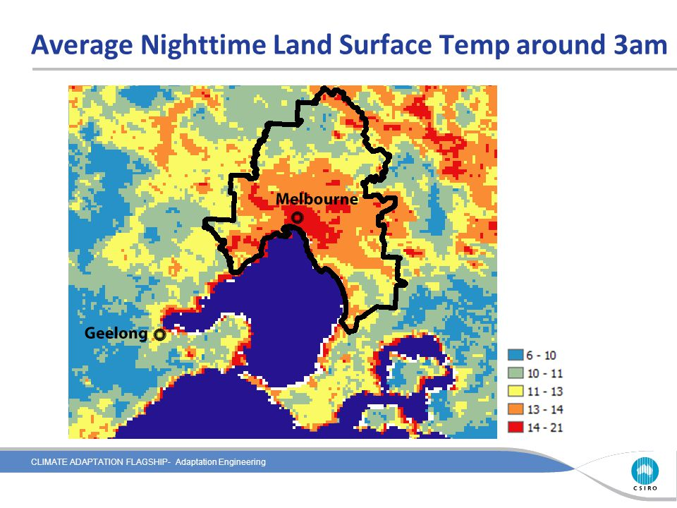 CLIMATE ADAPTATION FLAGSHIP- Adaptation Engineering Average Nighttime Land Surface Temp around 3am
