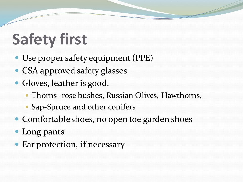 Safety first Use proper safety equipment (PPE) CSA approved safety glasses Gloves, leather is good. Thorns- rose bushes, Russian Olives, Hawthorns, Sa