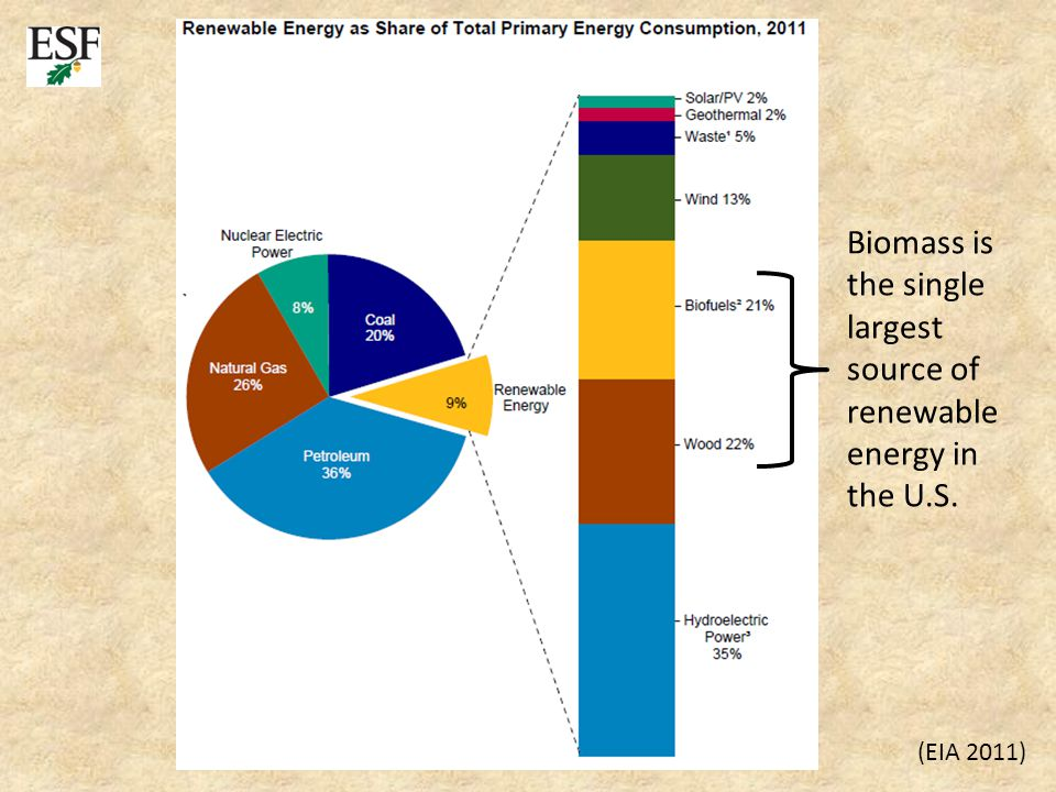 (EIA 2011) Biomass is the single largest source of renewable energy in the U.S.