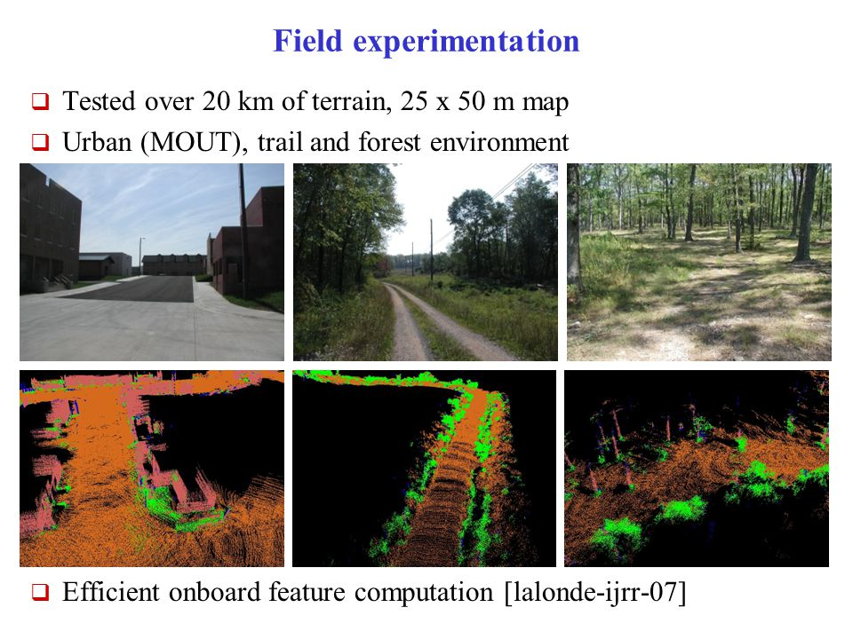 Field experimentation  Tested over 20 km of terrain, 25 x 50 m map  Urban (MOUT), trail and forest environment  Efficient onboard feature computation [lalonde-ijrr-07]