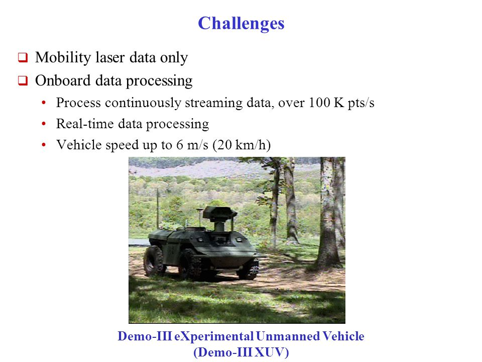 Challenges  Mobility laser data only  Onboard data processing Process continuously streaming data, over 100 K pts/s Real-time data processing Vehicle speed up to 6 m/s (20 km/h) Demo-III eXperimental Unmanned Vehicle (Demo-III XUV)