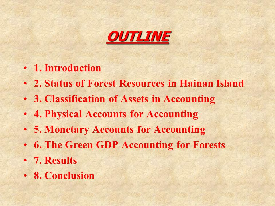 OUTLINE 1. Introduction 2. Status of Forest Resources in Hainan Island 3.