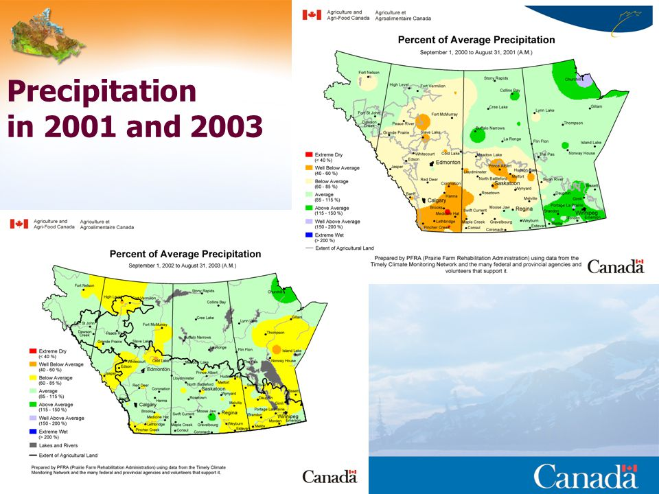 Reducing Canada s vulnerability to climate change - ESS Precipitation in 2001 and 2003