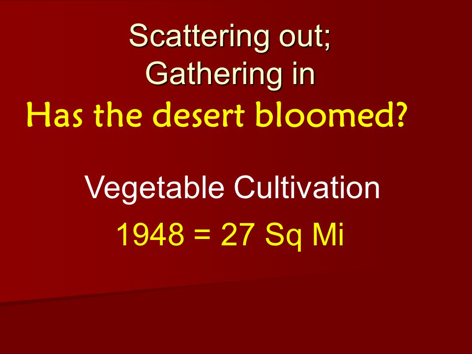 Scattering out; Gathering in Has the desert bloomed 1948 = 27 Sq Mi Vegetable Cultivation