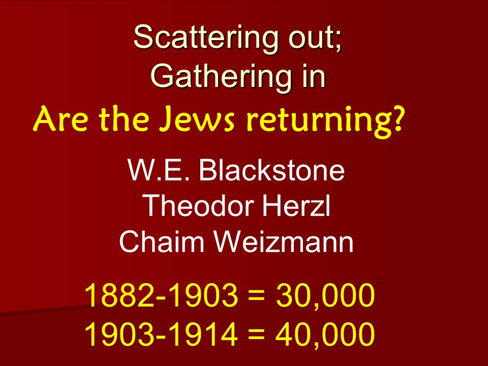Scattering out; Gathering in Are the Jews returning.