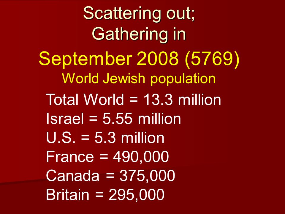 Scattering out; Gathering in Total World = 13.3 million Israel = 5.55 million U.S.