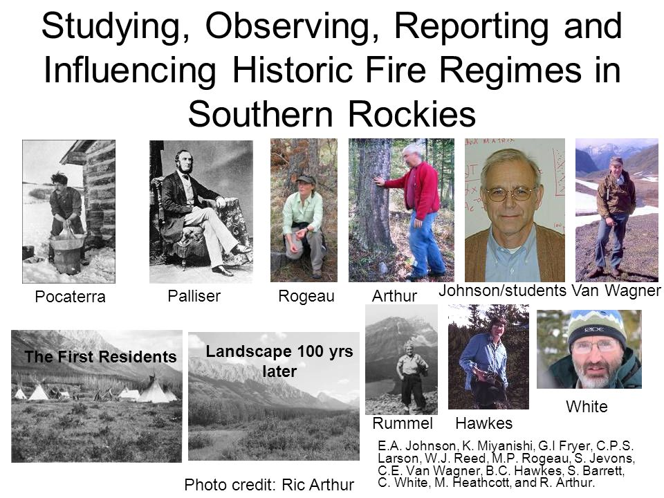 Studying, Observing, Reporting and Influencing Historic Fire Regimes in Southern Rockies E.A.