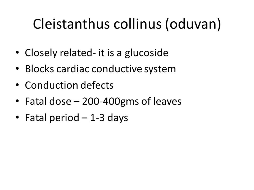 Cleistanthus collinus (oduvan) Closely related- it is a glucoside Blocks cardiac conductive system Conduction defects Fatal dose – 200-400gms of leave