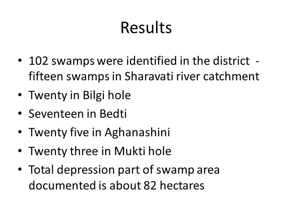 Results 102 swamps were identified in the district - fifteen swamps in Sharavati river catchment Twenty in Bilgi hole Seventeen in Bedti Twenty five i