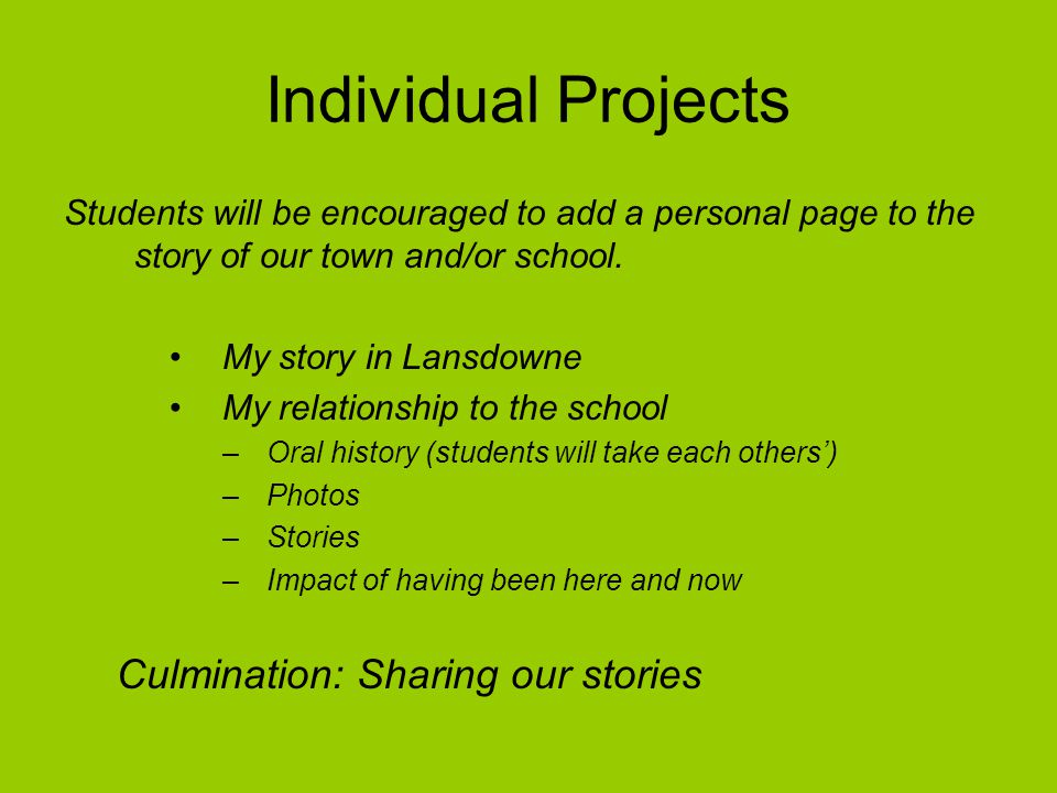 Individual Projects Students will be encouraged to add a personal page to the story of our town and/or school. My story in Lansdowne My relationship t