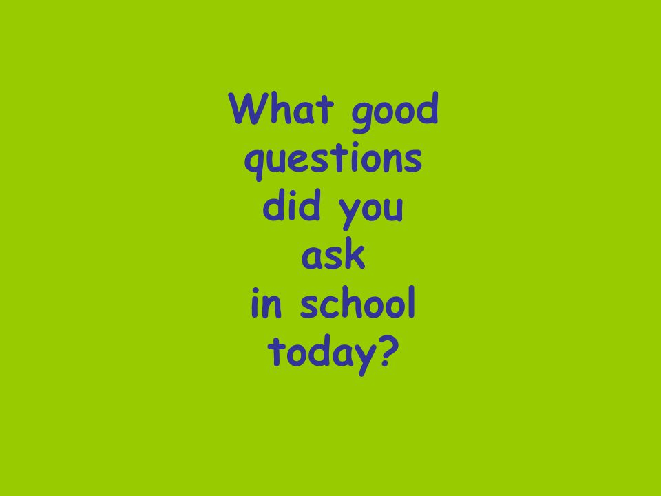 What good questions did you ask in school today?