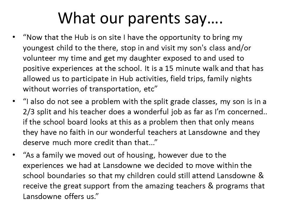 What our parents say….