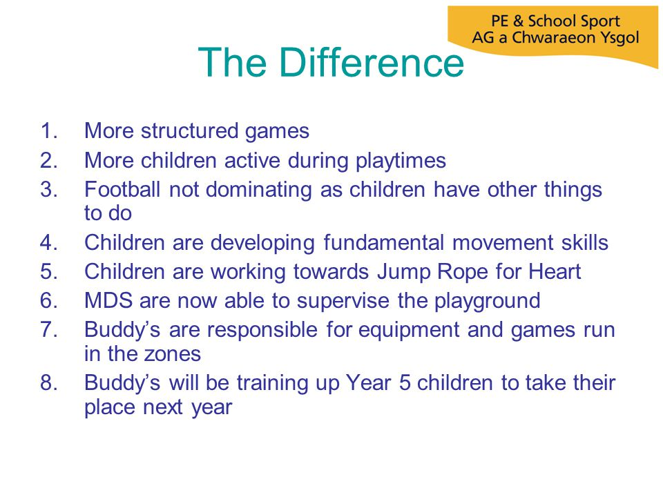 The Difference 1.More structured games 2.More children active during playtimes 3.Football not dominating as children have other things to do 4.Childre