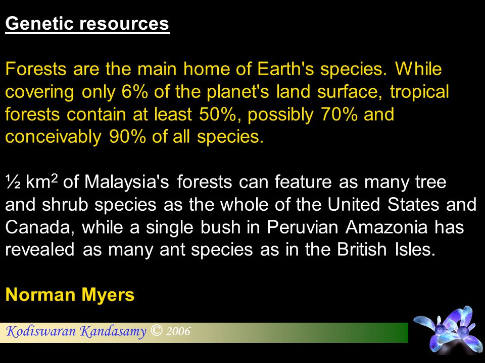 Kodiswaran Kandasamy © 2006 Genetic resources Forests are the main home of Earth's species. While covering only 6% of the planet's land surface, tropi