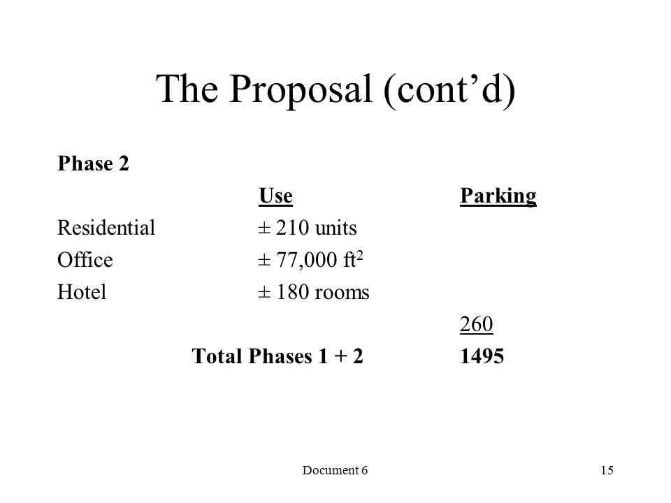 Document 6 The Proposal (cont'd) Phase 2 Use Parking Residential ± 210 units Office ± 77,000 ft 2 Hotel ± 180 rooms 260 Total Phases 1 + 2 1495 15