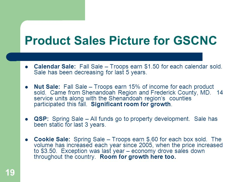 19 Product Sales Picture for GSCNC Calendar Sale: Fall Sale – Troops earn $1.50 for each calendar sold.