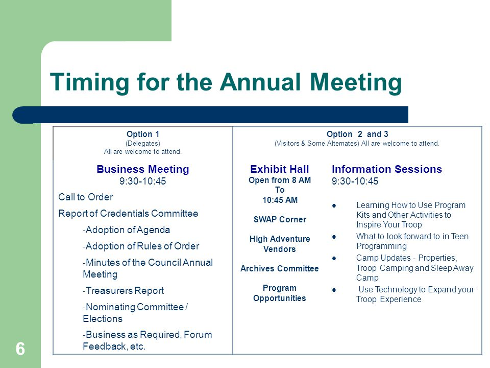 6 Timing for the Annual Meeting Option 1 (Delegates) All are welcome to attend.