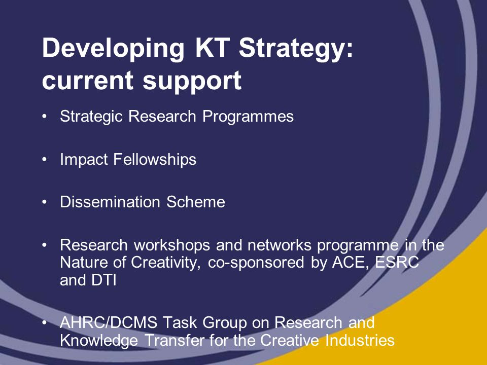 Developing KT Strategy: current support Strategic Research Programmes Impact Fellowships Dissemination Scheme Research workshops and networks programme in the Nature of Creativity, co-sponsored by ACE, ESRC and DTI AHRC/DCMS Task Group on Research and Knowledge Transfer for the Creative Industries