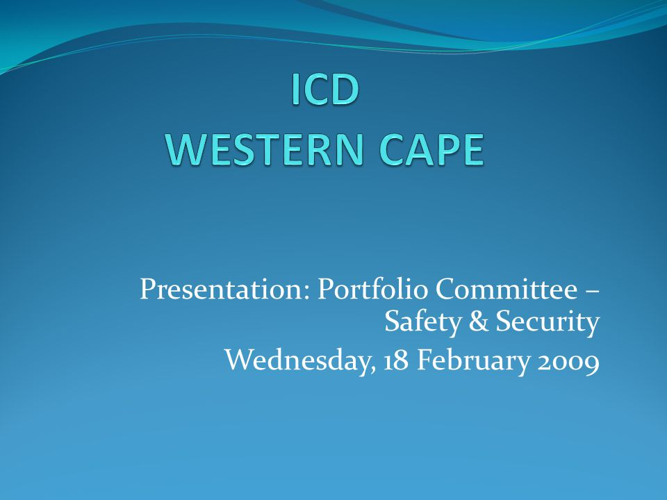 Presentation: Portfolio Committee – Safety & Security Wednesday, 18 February 2009