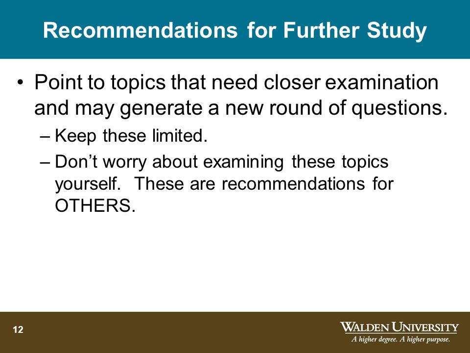 12 Recommendations for Further Study Point to topics that need closer examination and may generate a new round of questions.