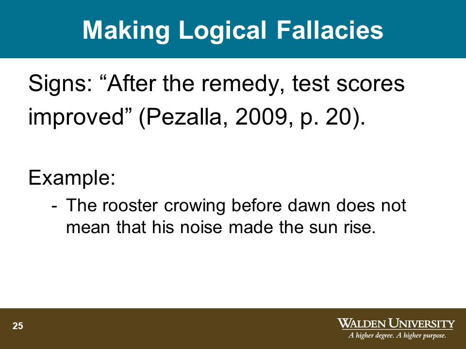 25 Making Logical Fallacies Signs: After the remedy, test scores improved (Pezalla, 2009, p.