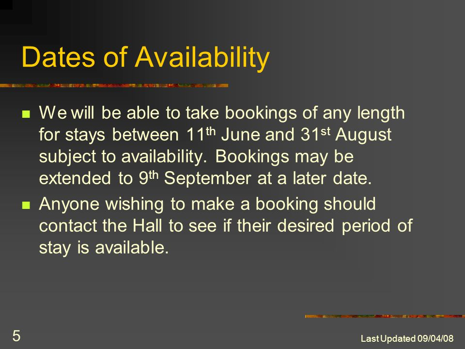 Last Updated 09/04/08 4 Room Rates – Single Study Bedrooms The room rate depends on your student status. Full-time University of London students - £23